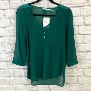 UO Kimchi Blue Teal V-neck Button Down Blouse NWT